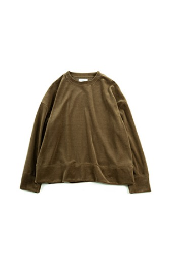 "BROWN YARD - Zero Wide Velour Pullover ""Olive"""