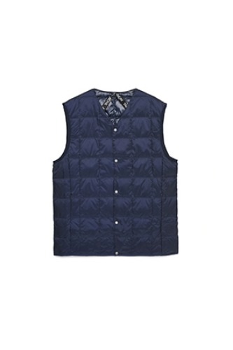 "TAION - NEW V NECK BUTTON DOWN VEST ""NAVY"""