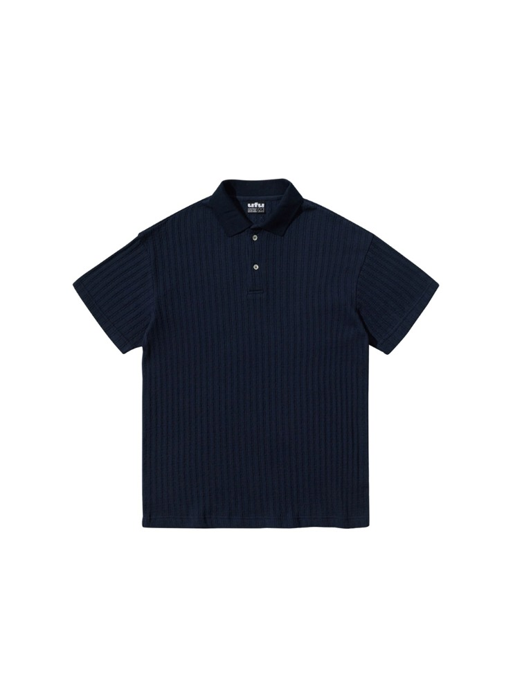 "USED FUTURE - CABLE POLO T-SHIRT ""NAVY"""