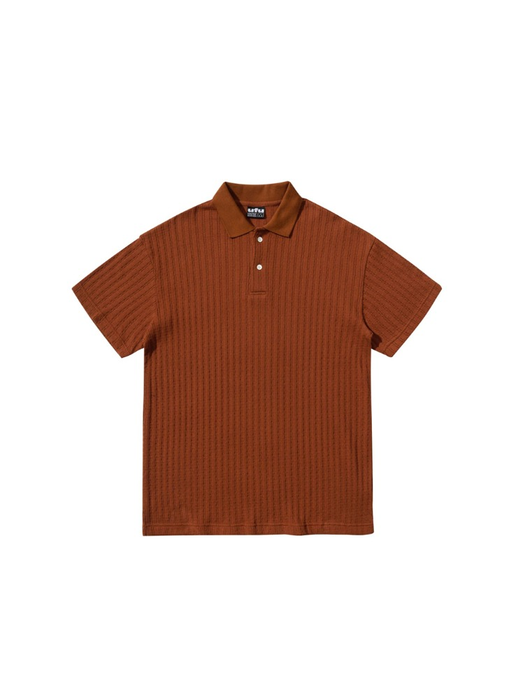 "USED FUTURE - CABLE POLO T-SHIRT ""BROWN"""