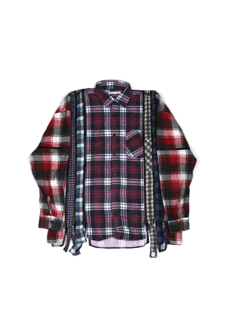 "NEEDLES - REBUILD BY NEEDLES FLANNEL SHIRT 7 CUTS ZIPPED WIDE SHIRT ""ASSORTED"" 04"