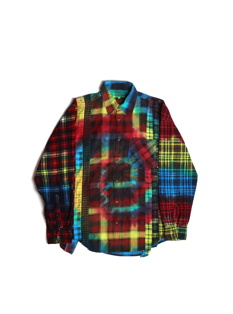 "NEEDLES - REBUILD BY NEEDLES FLANNEL SHIRT 7 CUTS SHIRT ""TIE DYE"" 02"