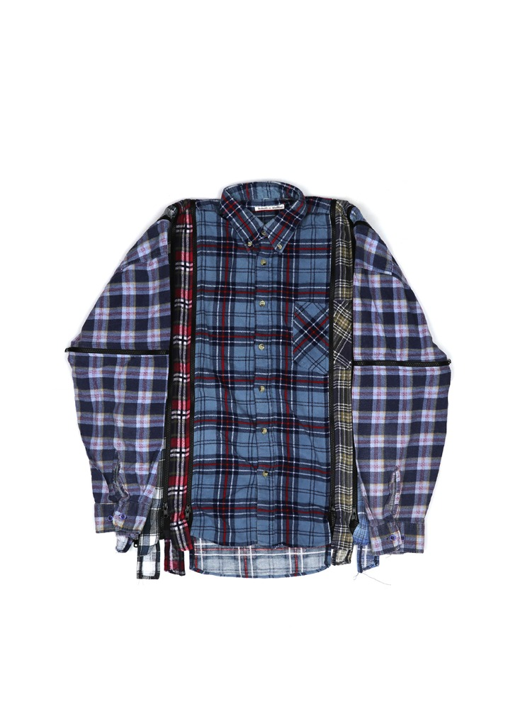 "NEEDLES - REBUILD BY NEEDLES FLANNEL SHIRT 7 CUTS ZIPPED WIDE SHIRT ""ASSORTED"" 01"